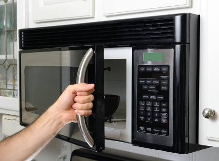 opening microwave oven